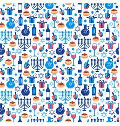 Jewish holiday hanukkah greeting card traditional vector