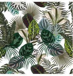 jungle leaves flowers dark color seamless vector image