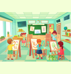 kids drawing in art class art education vector image