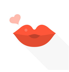 kissing lips with heart icon vector image