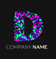 Letter d logo with pink purple green particles vector