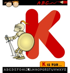 letter k for knight cartoon vector image
