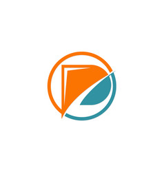 letter p technology company logo vector image