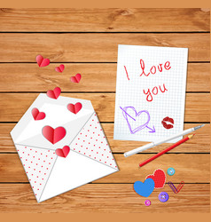 love letter on valentines day vector image