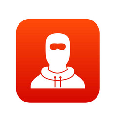 Man in balaclava icon digital red vector