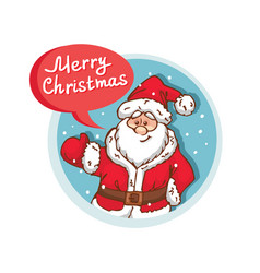 Merry christmas flat icon with santa claus vector