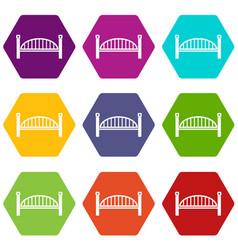 modern arch bridge icons set 9 vector image