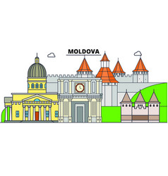 moldova line skyline moldova vector image