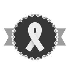 Monochrome emblem with symbol breast cancer vector