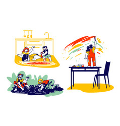 naughty hyperactive children characters making vector image