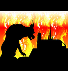 notre dame de paris and gargoyle on fire france vector image