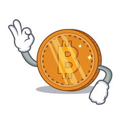 Okay bitcoin coin character cartoon vector