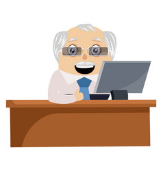 old man working at desk on white background vector image