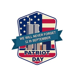 Patriot day badge emblem with buildings vector