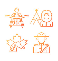 People of canada gradient linear icons set vector