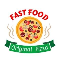 Pepperoni pizza icon for pizzeria menu design vector image