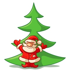 Santa and spruce vector image