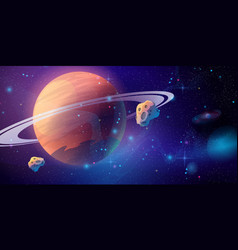 saturn space background with asteroid outer space vector image