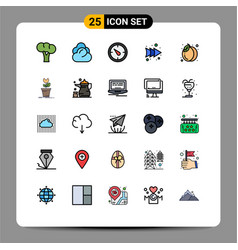 Set 25 modern ui icons symbols signs for fruit vector