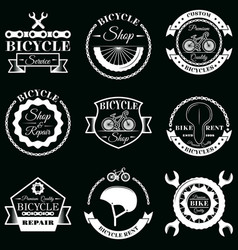 set bicycle service badges labels logo vector image