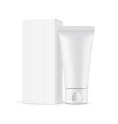 small plastic cosmetic tube with cardboard box vector image