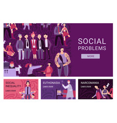 Social problems horizontal banners vector