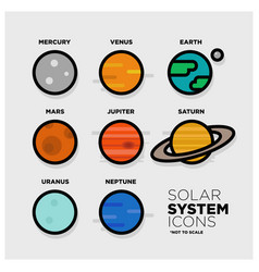 solar system icon set vector image