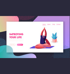 sportsman practicing yoga doing asana sitting vector image