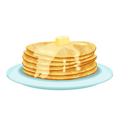 Stack of pancakes on light blue plate isolated vector