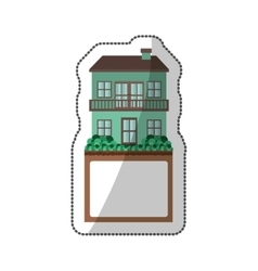 Sticker of house with two floors and balcony vector