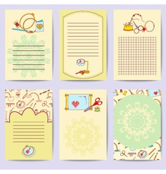 Stock set printable journaling cards of embroidery vector