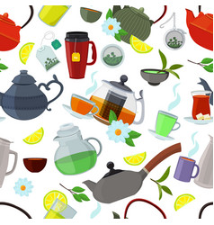tea kettles and cups seamless pattern vector image