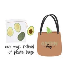 Textile eco bag zero waste vector