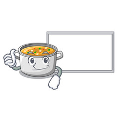 Thumbs up with board vegetable soup with pasta in vector