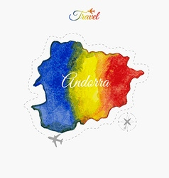 Travel around the world Andorra Watercolor map vector