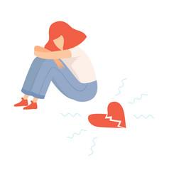 Unhappy teen girl with broken heart teenager vector