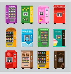Vending machines collcetion merchandise concept vector