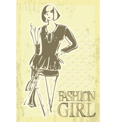 vintage fashion girl vector image