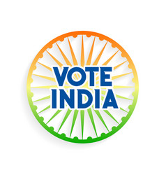 Vote india charkra in indian flag colors vector