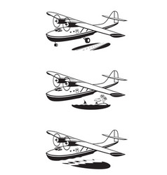 Water plane over land sky and sea vector