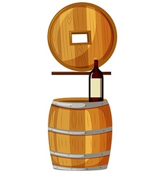 Wine bottle on wooden barrel vector