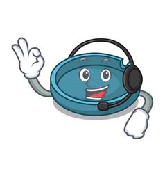 with headphone ashtray mascot cartoon style vector image