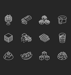 World famous desserts chalk white icons set on vector