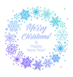 wreath from blue snowflakes with text merry vector image