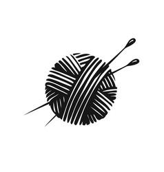 yarn ball and needles knitting symbol vector image