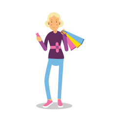 Young smiling fashionable blond girl standing with vector