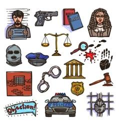 Law icon sketch color vector image vector image