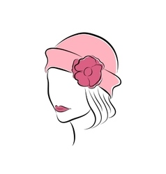 Lovely girl in a pink hat with flower vector image vector image