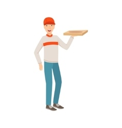 Man Delivery Worker Holding Pizza Part Of Happy vector image vector image