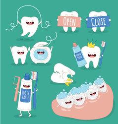 teeth set vector image
